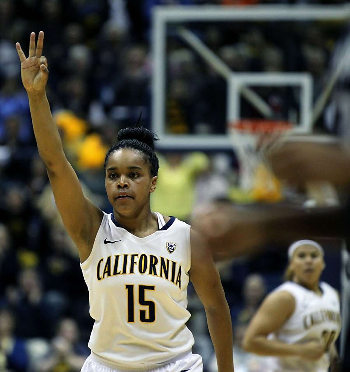 California guard Brittany Boyd (15) holds up three fingers indecation a three point basket by Cal in the first half during an NCAA basketball game against Stanford Tuesday Jan 8, 2013, in Berkeley California.