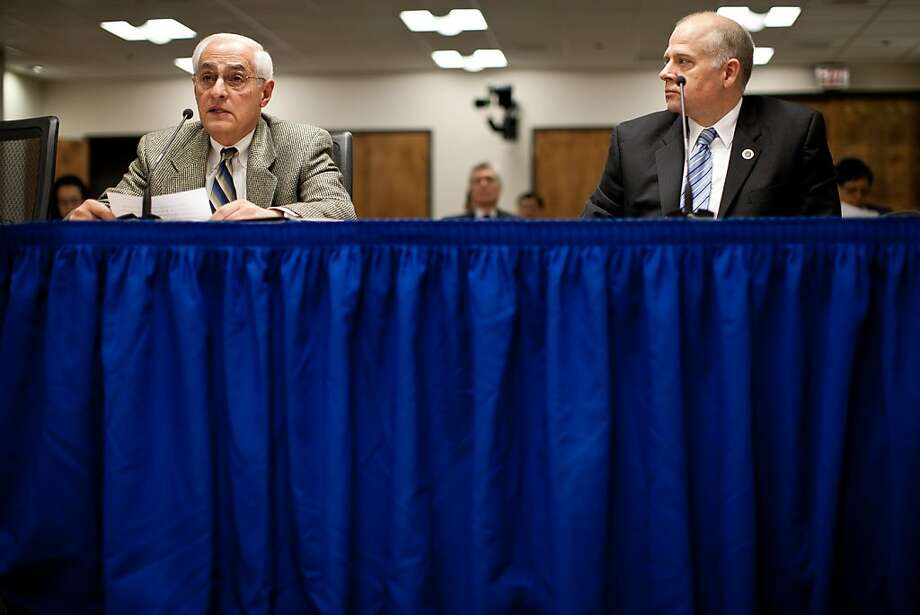 City College of San Francisco special trustee Bob Agrella, left, delivers a report to the California's Community Colleges Board of Governor's meeting January 8, 2013 in Sacramento, Calif. Agrella has been appointed by the state to insure that City College doesn't lose their accreditation. Photo: Max Whittaker/Prime, Special To The Chronicle