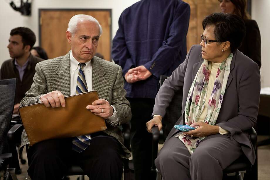 City College of San Francisco special trustee Bob Agrella, left, speaks with City College interim chancellor Thelma Scott-Skillman, right, before giving a report to the California's Community Colleges Board of Governor's meeting January 8, 2013 in Sacramento, Calif. Agrella has been appointed by the state to insure that City College doesn't lose their accreditation. Photo: Max Whittaker/Prime, Special To The Chronicle