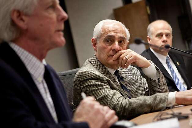 City College of San Francisco special trustee Robert Agrella, center, listens  as Richard Hansen, president of California Community College Independents, speaks the California's Community Colleges Board of Governor's meeting January 8, 2013 in Sacramento, Calif. Agrella has been appointed by the state to insure that City College doesn't lose their accreditation. Photo: Max Whittaker/Prime, Special To The Chronicle