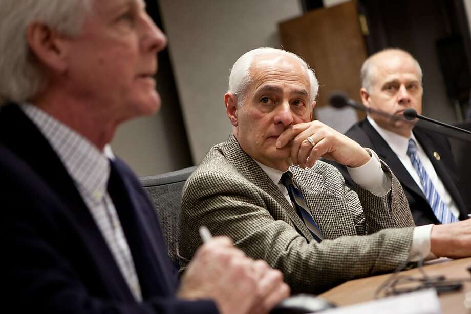 City College of San Francisco special trustee Bob Agrella, center, listens  as Richard Hansen, president of California Community College Independents, speaks the California's Community Colleges Board of Governor's meeting January 8, 2013 in Sacramento, Calif. Agrella has been appointed by the state to insure that City College doesn't lose their accreditation. Photo: Max Whittaker/Prime, Special To The Chronicle