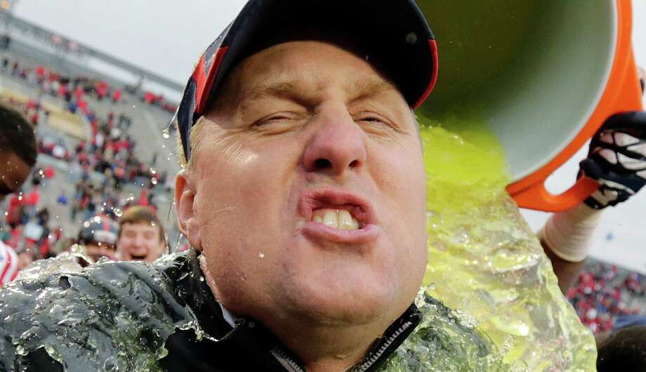 Mississippi head coach Hugh Freeze gets dunked at the end of the BBVA Compass Bowl NCAA college football game against Pittsburgh at Legion Field in Birmingham, Saturday, Jan. 5, 2013. Mississippi won 38-17. Photo: Dave Martin, Associated Press / AP