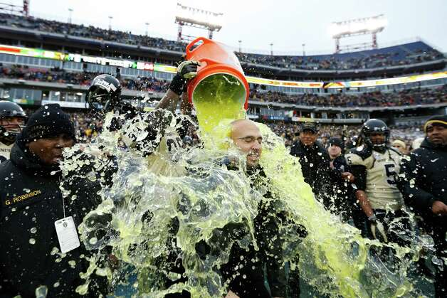 Head coach James Franklin of the Vanderbilt Commodores gets showered with Gatorade at the end of the game against the North Carolina State Wolfpack during the Franklin American Mortgage Music City Bowl at LP Field on December 31, 2012 in Nashville, Tennessee. Vanderbilt won 38-24. Photo: Joe Robbins, Getty Images / 2012 Getty Images