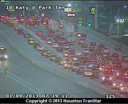 Traffic backed up at 7:19 a.m. Wednesday, Jan. 9, 2013,  on the Katy Freeway at Park Ten. Photo: Houston Transtar