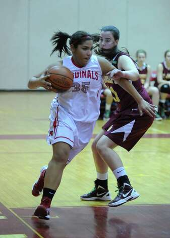 Brittany Rodriquez of Greenwich # 35 in action during girls high school basketball game between Greenwich and St. Joseph at Greenwich High School, Tuesday night, Jan. 8, 2013. Photo: Bob Luckey / Greenwich Time