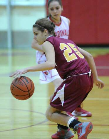 Maite Gritsko # 25 of St. Joseph's during girls high school basketball game between Greenwich and St. Joseph at Greenwich High School, Tuesday night, Jan. 8, 2013. Photo: Bob Luckey / Greenwich Time