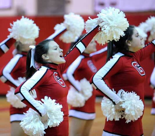 The GHS cheerleaders during girls high school basketball game between Greenwich and St. Joseph at Greenwich High School, Tuesday night, Jan. 8, 2013. Photo: Bob Luckey / Greenwich Time