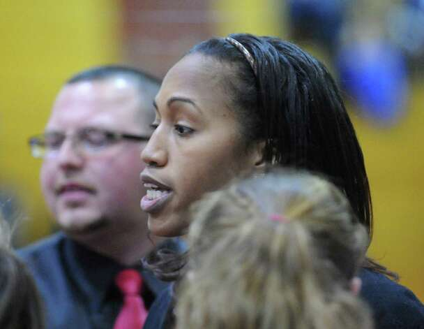 Greenwich girls basketball coach Chrys Hernandez during girls high school basketball game between Greenwich and St. Joseph at Greenwich High School, Tuesday night, Jan. 8, 2013. Photo: Bob Luckey / Greenwich Time