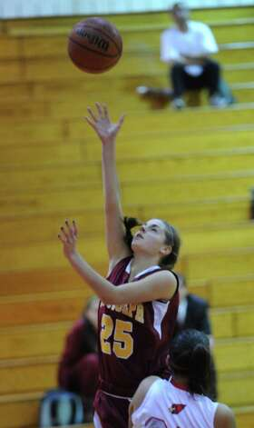Maite Gristko # 25 of St. Joseph's scores during girls high school basketball game between Greenwich and St. Joseph at Greenwich High School, Tuesday night, Jan. 8, 2013. Photo: Bob Luckey / Greenwich Time