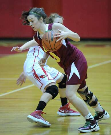 during girls high school basketball game between Greenwich and St. Joseph at Greenwich High School, Tuesday night, Jan. 8, 2013. Photo: Bob Luckey / Greenwich Time