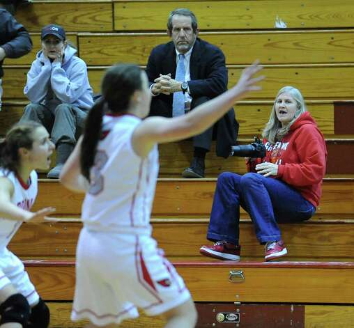 Fans react during the girls high school basketball game between Greenwich and St. Joseph at Greenwich High School, Tuesday night, Jan. 8, 2013. Photo: Bob Luckey / Greenwich Time