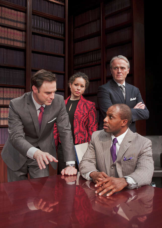 "J. Anthony Crane, left, Shelly Thomas, Wynn Harmon and Kevin Craig West star in ""Race,"" at Capital Repertory Theatre Jan. 11 through Feb. 10, 2013, in Albany. (Joseph Schuyler)"