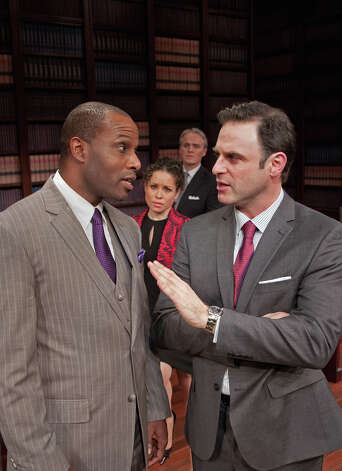 "Kevin Craig West, left, and J. Anthony Crane star in ""Race"" with Shelly Thomas and Wynn Harmon at Capital Repertory Theatre Jan. 11 through Feb. 10, 2013, in Albany. (Joseph Schuyler)"