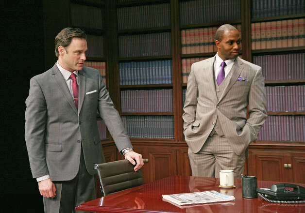 "J. Anthony Crane, left, and Kevin Craig West star in ""Race,"" at Capital Repertory Theatre Jan. 11 through Feb. 10, 2013, in Albany. (Joseph Schuyler)"