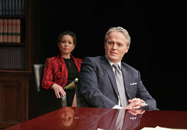 "Shelly Thomas, left, and Wynn Harmon star in ""Race,"" at Capital Repertory Theatre Jan. 11 through Feb. 10, 2013, in Albany. (Joseph Schuyler)"