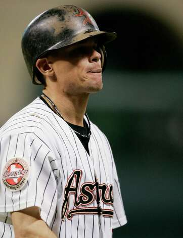 Houston Astros' Craig Biggio reacts after being called out on strikes while batting against the St. Louis Cardinals during the first inning of their Major League Baseball game Thursday, Sept. 21, 2006, in Houston. (AP Photo/David J. Phillip) Photo: DAVID J. PHILLIP / AP
