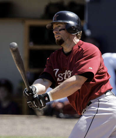 Houston Astros' Jeff Bagwell hits a single off Cleveland Indians' C.C. Sabathia during the third inning of a spring training baseball game Saturday, March 18, 2006, in Winterhaven, Fla.  (AP Photo/Tony Dejak) Photo: TONY DEJAK / AP
