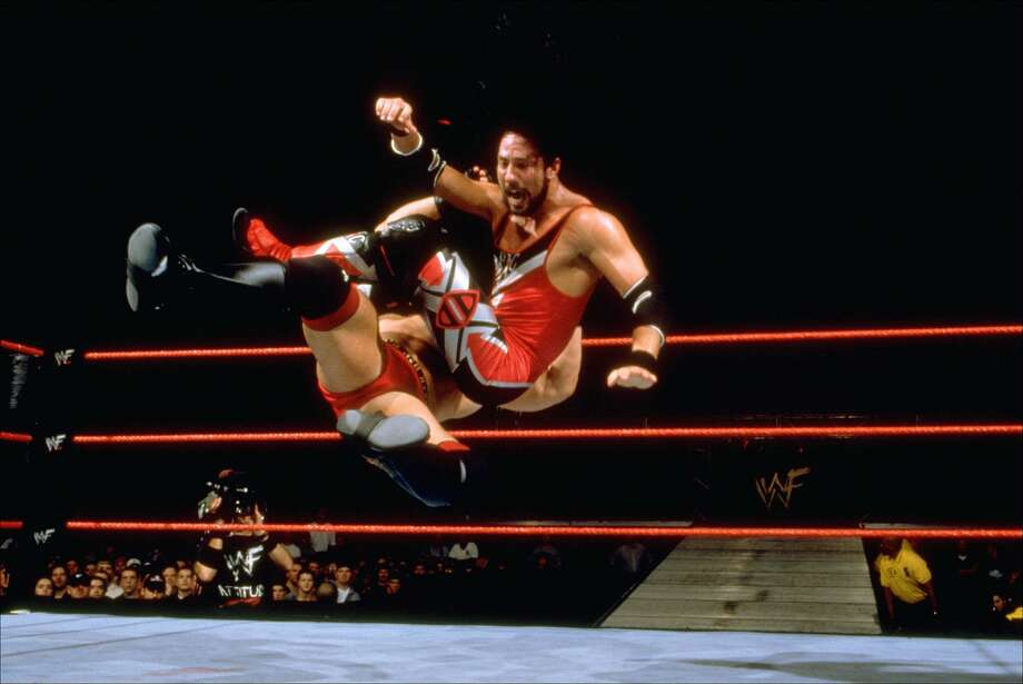 Wrestlers like X-Pac took the attack to the air. Photo: 1999 Titan Sports Inc., UPN
