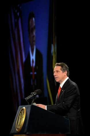 Governor Andrew Cuomo gives his State of the State message in the Convention Center of the Empire State Plaza Jan. 9, 2013 in Albany, N.Y. (Skip Dickstein/Times Union) Photo: SKIP DICKSTEIN, ALBANY TIMES UNION / 00020691B