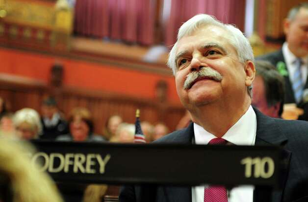 State Rep. Bob Godfrey (D-Danbury) attends opening day of the State Legislature at the Capitol Building in Hartford, Conn. Wednesday, Jan. 9, 2013. Photo: Autumn Driscoll / Connecticut Post