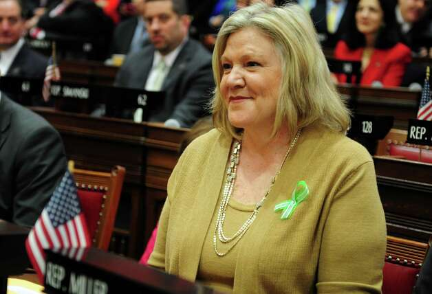 State Rep. Theresa Conroy (D-Seymour) is ready to be sworn in Wednesday, Jan. 9, 2013 during opening day of the State Legislature at the Capitol Building in Hartford, Conn. Photo: Autumn Driscoll / Connecticut Post