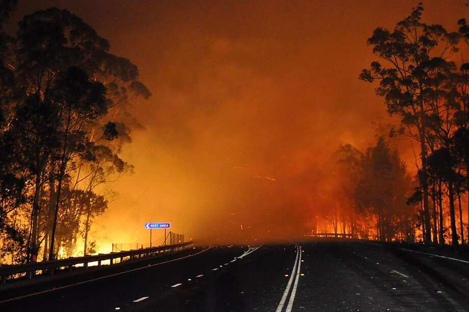 Into the burn zone:The Princes Highway disappears into blazing trees and billowing smoke at Deans Gap in New South Wales. Up to 30 wildfires were raging out of control amid a heat wave in Australia. Photo: Nsw Rural Fire Service, AFP/Getty Images