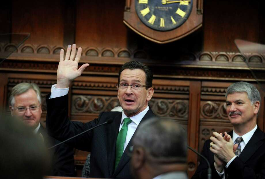 Gov. Dannel Malloy concludes his 2013 State of the State Address Wednesday, Jan. 9, 2013 during opening day of the State Legislature at the Capitol Building in Hartford, Conn. Photo: Autumn Driscoll / Connecticut Post