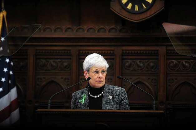 Lt. Gov. Nancy Wyman speaks Wednesday, Jan. 9, 2013 during opening day of the State Legislature at the Capitol Building in Hartford, Conn. Photo: Autumn Driscoll / Connecticut Post