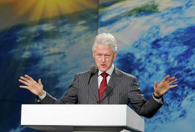 Former President Bill Clinton speaks during Samsung's keynote address at the International Consumer Electronics Show in Las Vegas, Wednesday, Jan. 9, 2013. (AP Photo/Jae C. Hong) Photo: Jae C. Hong, Associated Press / AP