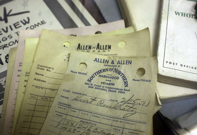 Old invoices are part a display at the Allen & Allen Co., a hardware and lumber company located at 202 Culebra, Wednesday, Jan. 9, 2013. Photo: Jerry Lara, San Antonio Express-News / © 2013 San Antonio Express-News