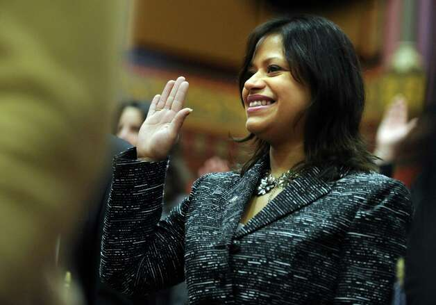 State Rep. Christina Ayala (D-Bridgeport) is sworn in Wednesday, Jan. 9, 2013 during opening day of the State Legislature at the Capitol Building in Hartford, Conn. Photo: Autumn Driscoll / Connecticut Post