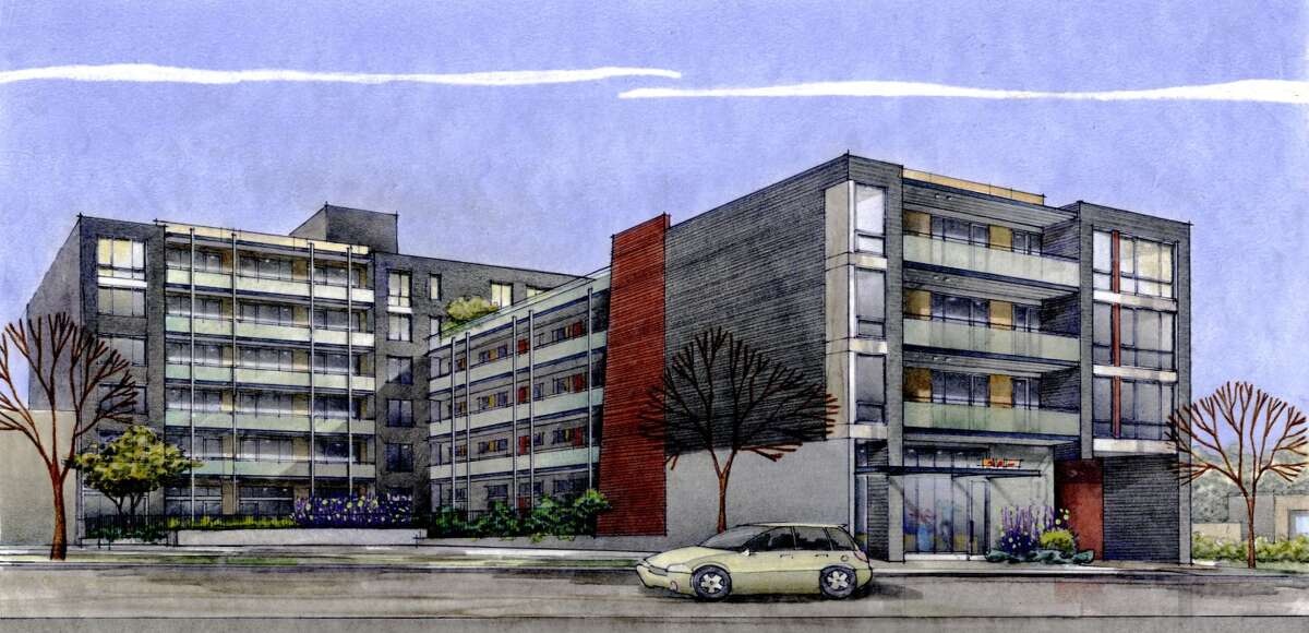 An artist's depiction of Stream Uptown, a new lower Queen Anne apartment building that boasts of being the first residential building in Seattle to fully mitigate its carbon footprint for construction, and ongoing operation and maintenance.