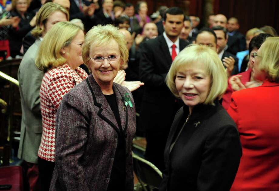 Newtown First Selectman Patricia Llodra, left, and Newtown Superintendent of Schools Janet Robinson attend opening day of the State Legislature at the Capitol Building in Hartford, Conn. Wednesday, Jan. 9, 2013. Photo: Autumn Driscoll / Connecticut Post