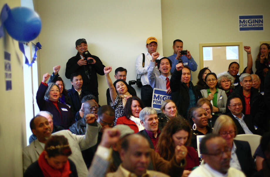 Supporters cheer as Seattle Mayor Mike McGinn prepares to announce he will seek a second term on Wednesday, January 9, 2013 at the Filipino Community Center on Martin Luther King Jr. Way South in Seattle. Photo: JOSHUA TRUJILLO / SEATTLEPI.COM