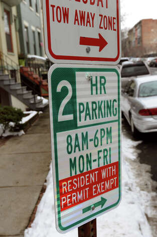 Residential parking permit sign on Hudson Avenue in Center Square on Wednesday, Jan. 9, 2013, in Albany, N.Y. (Cindy Schultz / Times Union) Photo: Cindy Schultz / 00020717A