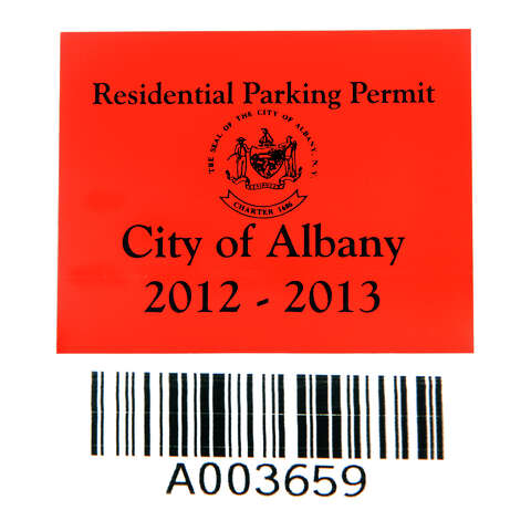 Residential parking permit for Center Square neighborhood on Wednesday, Jan. 9, 2013, in Albany, N.Y. (Cindy Schultz / Times Union) Photo: Cindy Schultz / 00020717A