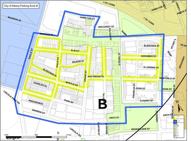 Zone B of the Albany parking permit system. (Albany Police Department)