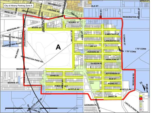 Zone A of the Albany parking permit system. (Albany Police Department)