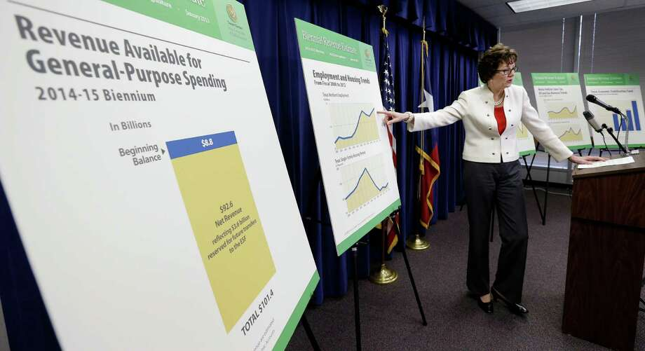 Texas Comptroller Susan Combs uses charts during a news conference Monday when she released her biennial revenue estimate. Photo: Eric Gay, STF / AP