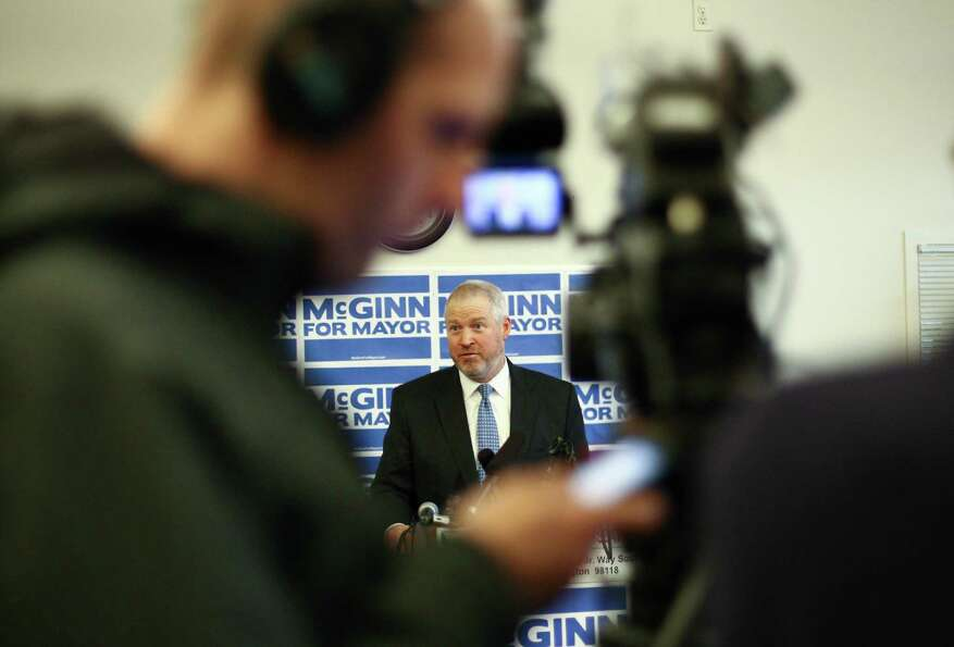 Seattle Mayor Mike McGinn announces he will seek a second term on Wednesday, January 9, 2013 at the