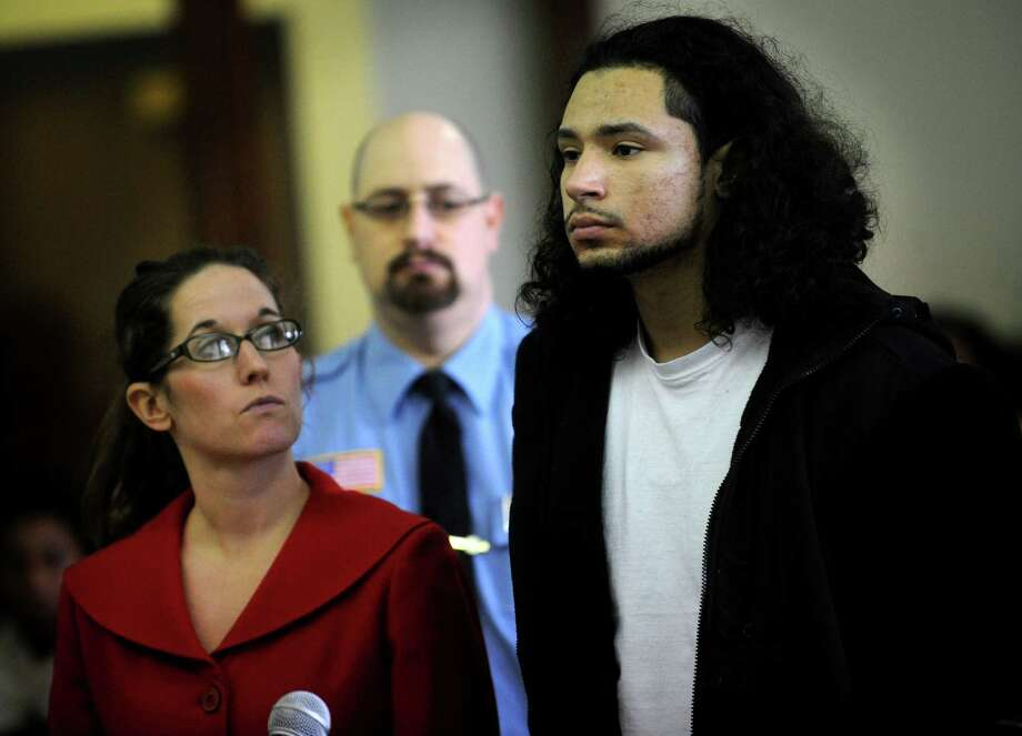 Joel Albornoz, 20, of Stratford, one of four men arrested on Tuesday for using pellet guns in the vicinity of Wooster Middle School in Stratford, appears in Superior Court in Bridgeport on Wednesday, January 9, 2012. Photo: Brian A. Pounds