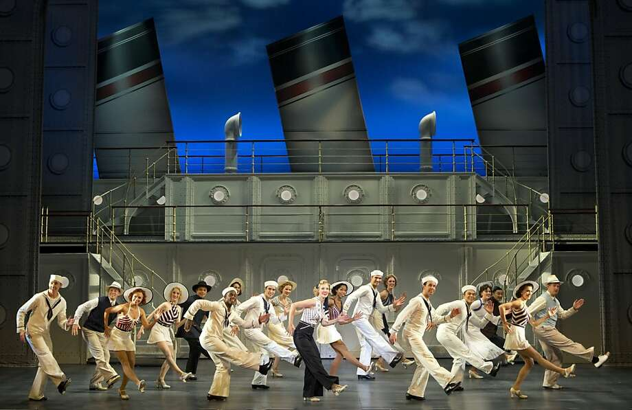 "Rachel York (center, black pants) as hostess/former evangelist Reno Sweeney and the company in the touring company of Cole Porter's ""Anything Goes""  Anything Goes Tour Photo: Joan Marcus"