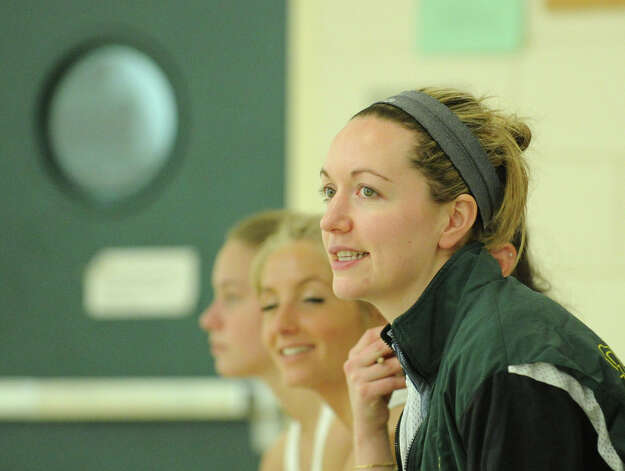 Greenwich Academy squash coach Suzie Pierrepont during match against Taft at Greenwich Academy, Wednesday, Jan. 9, 2013. Photo: Bob Luckey / Greenwich Time