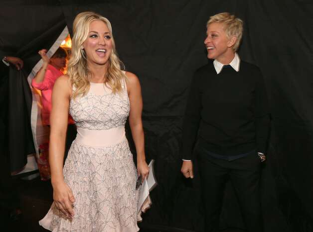 Host Kaley Cuoco and Ellen DeGeneres.