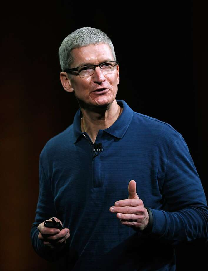 FILE - DECEMBER 8, 2012:  Nominations are being voted on and the winners in the 'TIME Person of the Year' 2012 will be announced on December 14th. SAN JOSE, CA - OCTOBER 23:  Apple CEO Tim Cook speaks during an Apple special event at the historic California Theater on October 23, 2012 in San Jose, California. Apple is expected to introduce a smaller, less expensive version of the iPad.  (Photo by Kevork Djansezian/Getty Images) Photo: Kevork Djansezian, Getty Images
