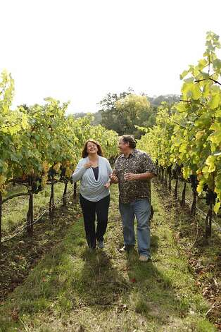 Nancy & John Lasseter walking in their Justi Creek Vineyards Photo: Brown Cannon