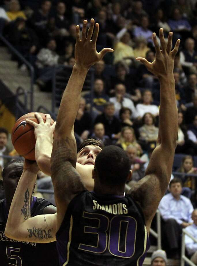 California guard Jeff Powers (21) shoots in the first half during an NCAA basketball game against Washington Wednesday Jan 9, 1013, in Berkeley California.  Washington won 62-47 Photo: Lance Iversen, The Chronicle