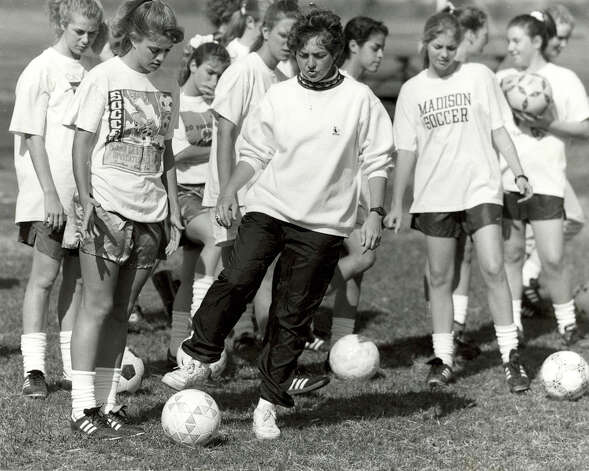 Madison coach Audrey Ambrose led the Mavericks to the first area girls soccer title in 1991, beating Plano 3-0 and finishing the season 22-0-2. Photo: Express-News File Photo