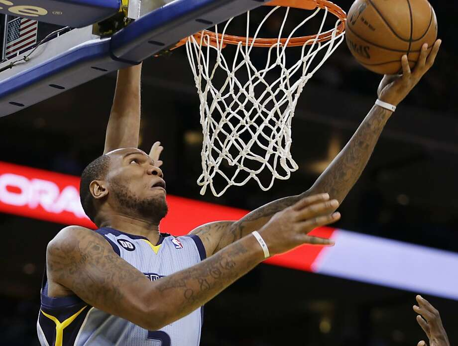 Memphis Grizzlies' Merreese Speights lays up a shot against the Golden State Warriors during the first half of an NBA basketball game, Wednesday, Jan. 9, 2013, in Oakland, Calif. (AP Photo/Ben Margot) Photo: Ben Margot, Associated Press