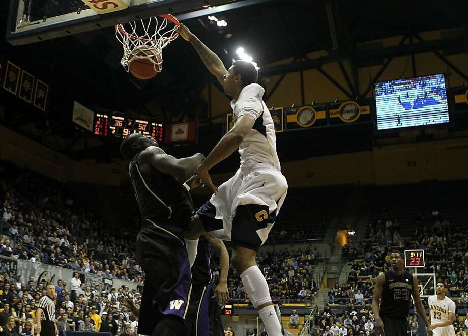 California forward Richard Solomon (35) slams home two points in the second half during an NCAA basketball game against Washington Wednesday Jan 9, 1013, in Berkeley California. Washington won 62-47 Photo: Lance Iversen, The Chronicle
